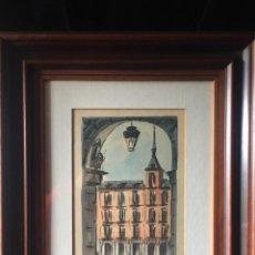 Arte: PRECIOSA ACUARELA ENMARCADA PLAZA MAYOR DE MADRID. Lote 161126950