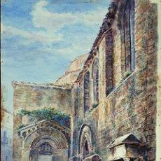 Arte: FACHADA DE IGLESIA. ACUARELA SOBRE PAPEL. ATRIB. JULIAN DEL POZO. SIGLO XIX-XX.. Lote 161220318