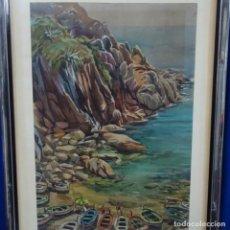 Arte: ACUARELA DE GUILLEM FRESQUET.TOSSA DE MAR.. Lote 161501922