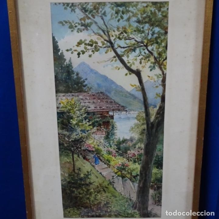 ACUARELA DE BUENAVENTURA POLLES I VIVO(1857-1917).RÜTLI. (Arte - Acuarelas - Contemporáneas siglo XX)