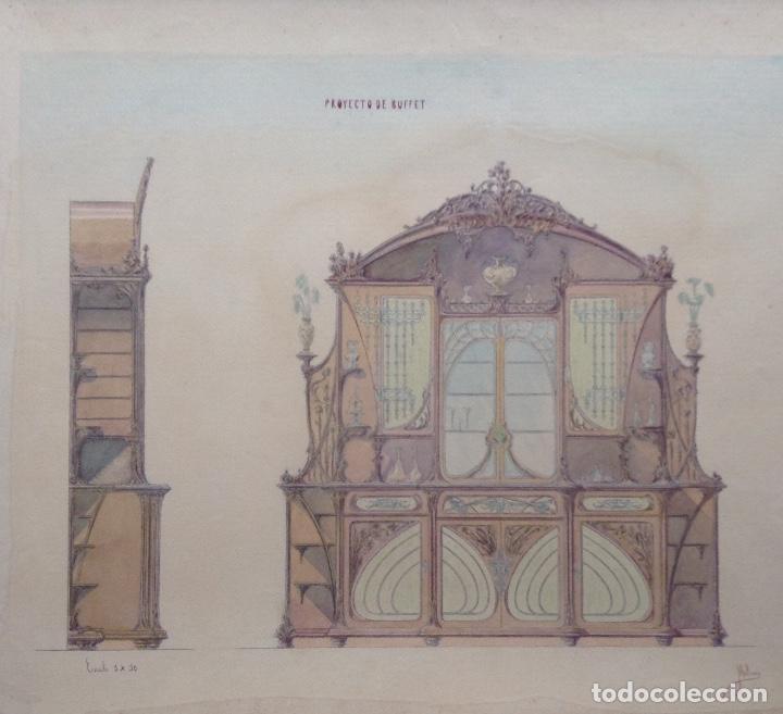 JUAN MOLINÉ MERCADER PROYECTO DE BUFET AÑO 1903 FIRMADO (Arte - Acuarelas - Contemporáneas siglo XX)