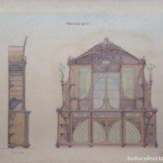 Arte: JUAN MOLINÉ MERCADER PROYECTO DE BUFET AÑO 1903 FIRMADO. Lote 161676958