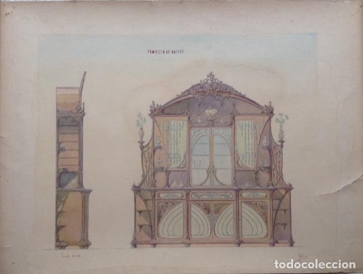 Arte: Juan Moliné Mercader proyecto de bufet año 1903 firmado - Foto 2 - 161676958