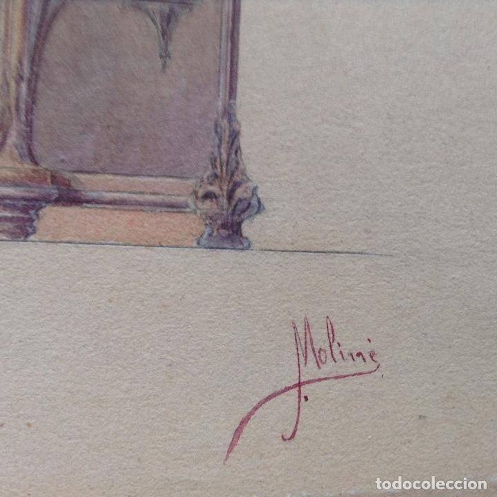 Arte: Juan Moliné Mercader proyecto de bufet año 1903 firmado - Foto 3 - 161676958