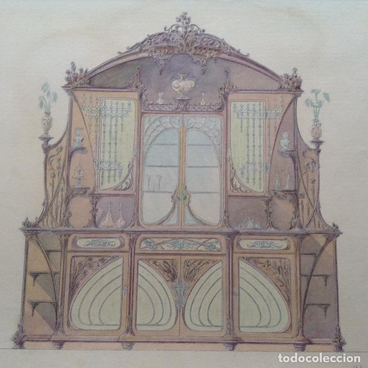 Arte: Juan Moliné Mercader proyecto de bufet año 1903 firmado - Foto 5 - 161676958