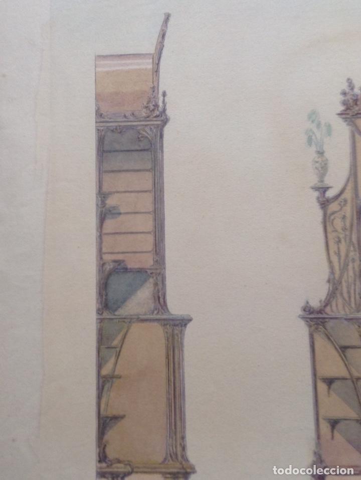 Arte: Juan Moliné Mercader proyecto de bufet año 1903 firmado - Foto 6 - 161676958