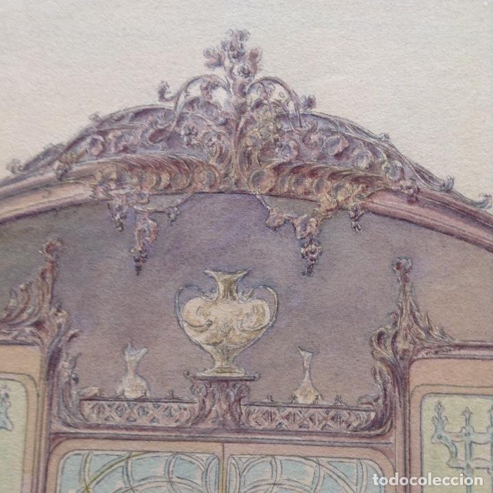 Arte: Juan Moliné Mercader proyecto de bufet año 1903 firmado - Foto 7 - 161676958