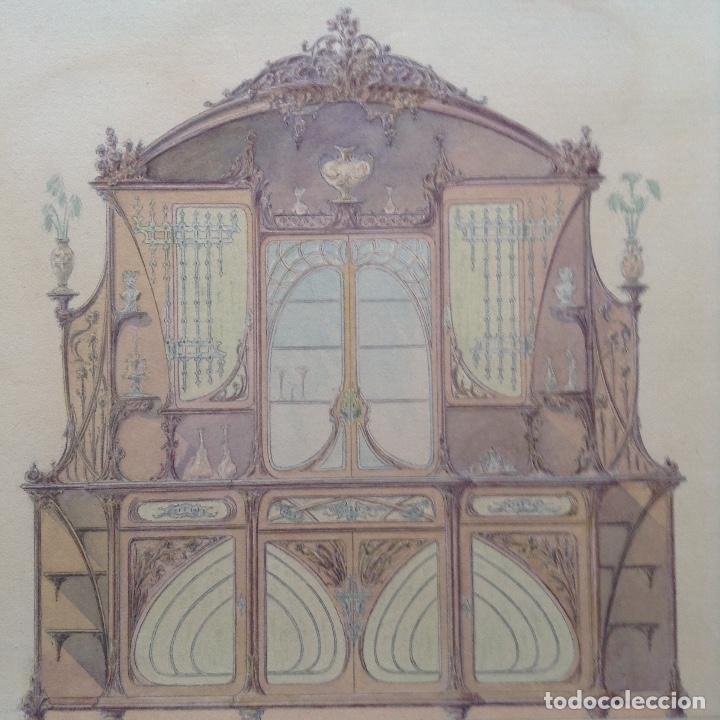 Arte: Juan Moliné Mercader proyecto de bufet año 1903 firmado - Foto 8 - 161676958