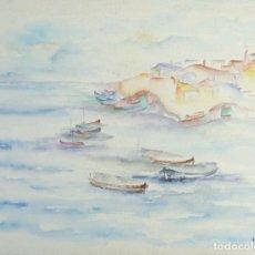 Arte: ACUARELA SOBRE PAPEL PUEBLO COSTERO FIRMADA M.PLA . Lote 161900086