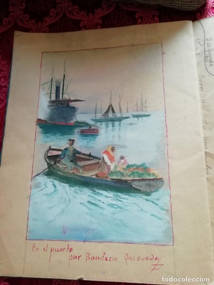 CUADERNO CON 6 DIBUJOS ,ACUARELAS DE BONIFACIO QUEVEDO AÑOS 1910-1912 BARROS (CANTABRIA ) (Arte - Acuarelas - Modernas siglo XIX)