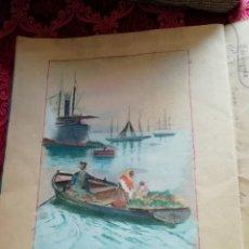 Arte: CUADERNO CON 6 DIBUJOS ,ACUARELAS DE BONIFACIO QUEVEDO AÑOS 1910-1912 BARROS (CANTABRIA ) . Lote 162015698