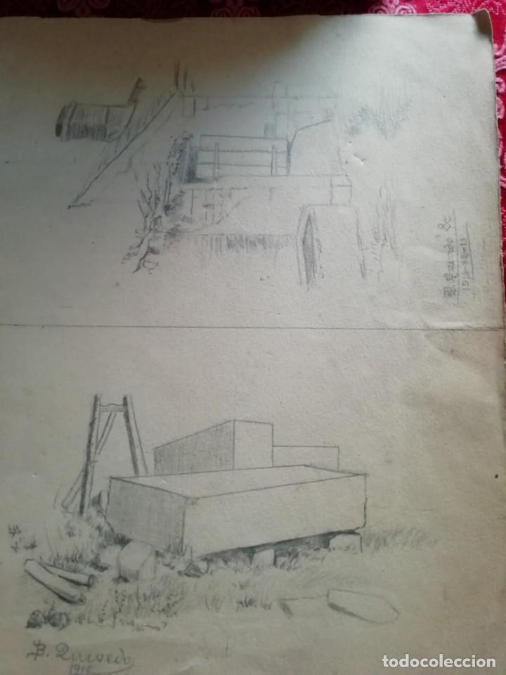 Arte: cuaderno con 6 dibujos ,acuarelas de bonifacio quevedo años 1910-1912 Barros (cantabria ) - Foto 3 - 162015698
