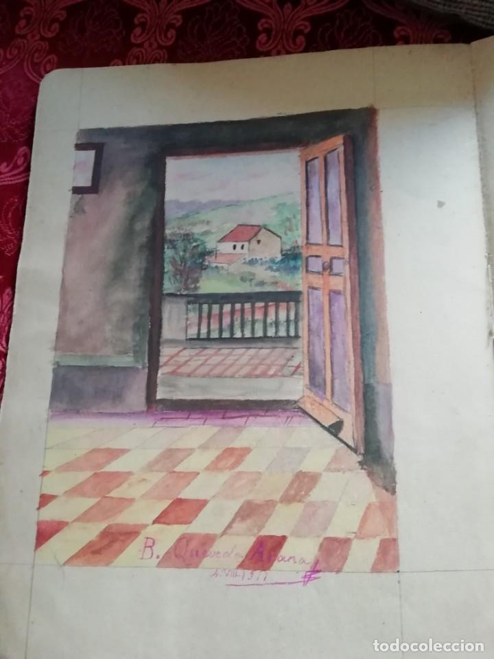 Arte: cuaderno con 6 dibujos ,acuarelas de bonifacio quevedo años 1910-1912 Barros (cantabria ) - Foto 5 - 162015698