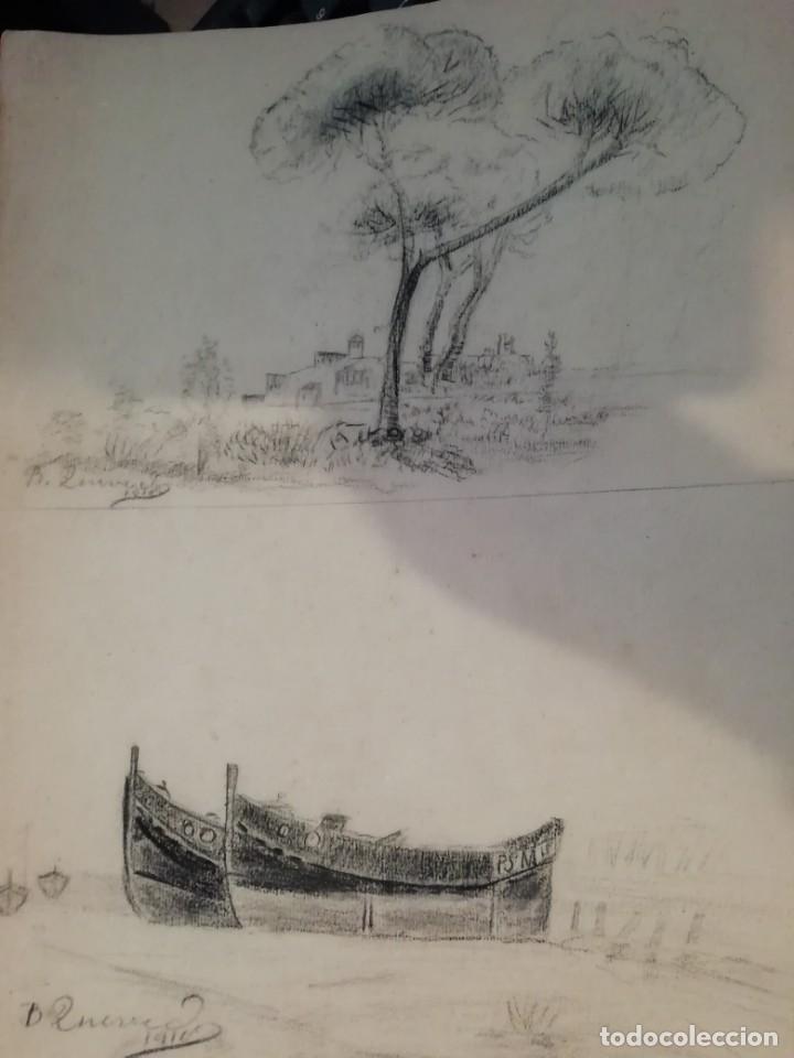Arte: cuaderno con 6 dibujos ,acuarelas de bonifacio quevedo años 1910-1912 Barros (cantabria ) - Foto 9 - 162015698