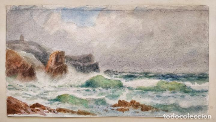MARAVILLOSA ACUARELA IMPRESIONISTA DE FINALES DEL SIGLO XIX, BONITA PINCELADA (Arte - Acuarelas - Modernas siglo XIX)