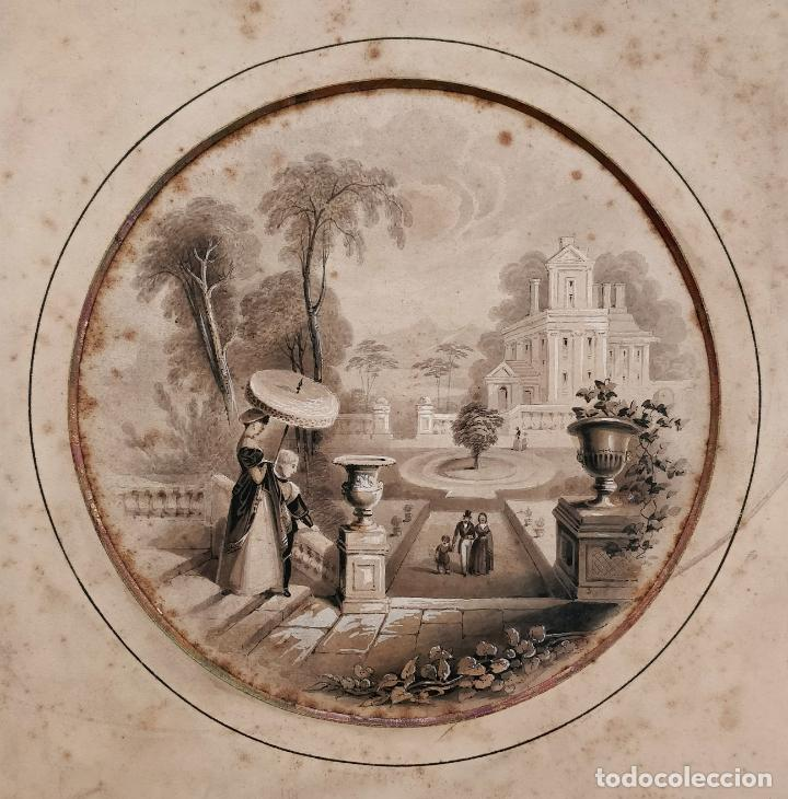 MAGISTRAL ACUARELA ORGINAL DE PRINCIPIOS DEL SIGLO XIX, ESCUELA FRANCESA (Arte - Acuarelas - Modernas siglo XIX)