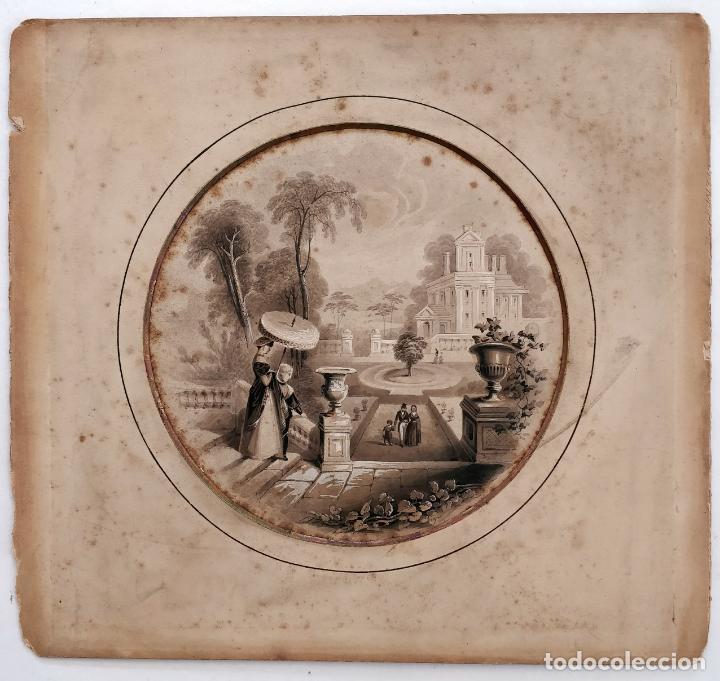 Arte: Magistral acuarela orginal de principios del siglo XIX, escuela francesa - Foto 2 - 162707450
