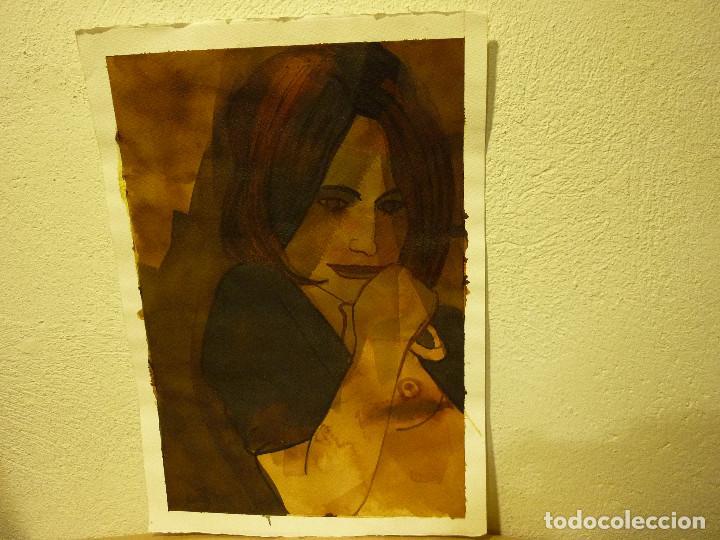 Arte: ACUARELA MUJER EN OCRES FIRMA ILEGIBLE - Foto 2 - 162788274