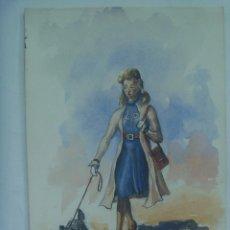 Arte: BONITO DIBUJO DE MUJER CON PERRO. PUERTO REAL , 1940. FIRMADO. Lote 163579834