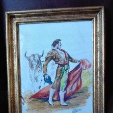 Arte: TORERO DESPLANTE ACUARELA FIRMADA LUCIANO PARRADO. Lote 163713510