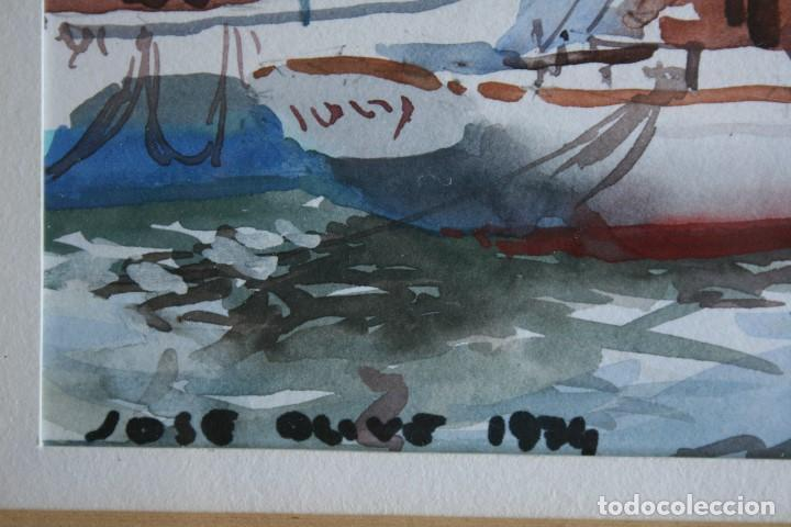 Arte: JOSÉ OLIVE- JOSEP OLIVE ( BARCELONA 1944 ) PRECIOSA ACUARELA , BARCAS EN EL PUERTO. - Foto 3 - 163862862