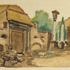 Arte: ACUARELA SOBRE PAPEL RUINAS ROMANAS MEDIADOS SIGLO XX. Lote 163985166