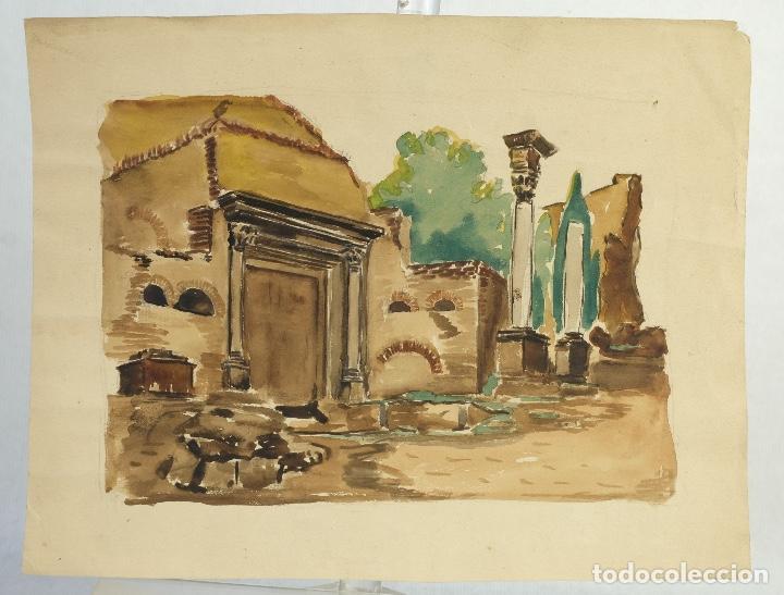 Arte: Acuarela sobre papel Ruinas romanas mediados siglo XX - Foto 2 - 163985166