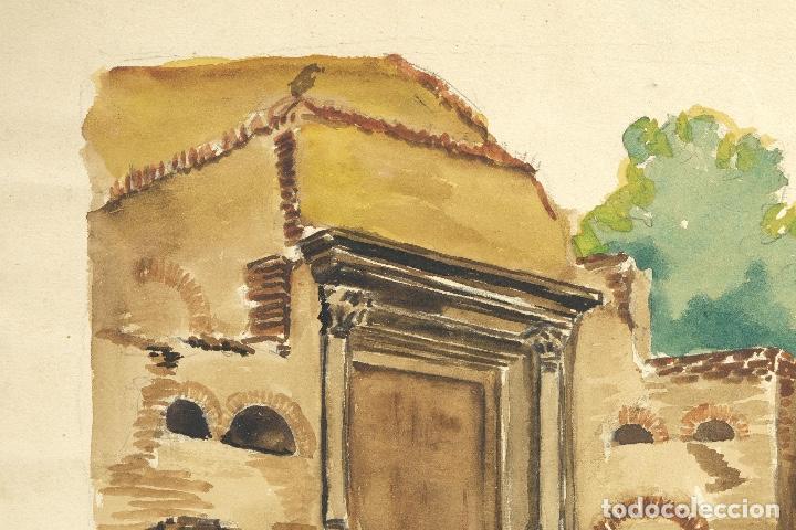 Arte: Acuarela sobre papel Ruinas romanas mediados siglo XX - Foto 3 - 163985166