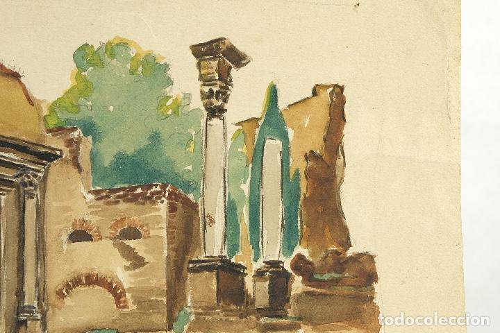 Arte: Acuarela sobre papel Ruinas romanas mediados siglo XX - Foto 4 - 163985166
