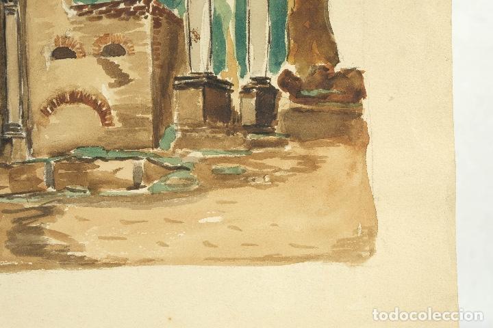 Arte: Acuarela sobre papel Ruinas romanas mediados siglo XX - Foto 5 - 163985166
