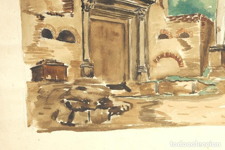 Arte: Acuarela sobre papel Ruinas romanas mediados siglo XX - Foto 6 - 163985166