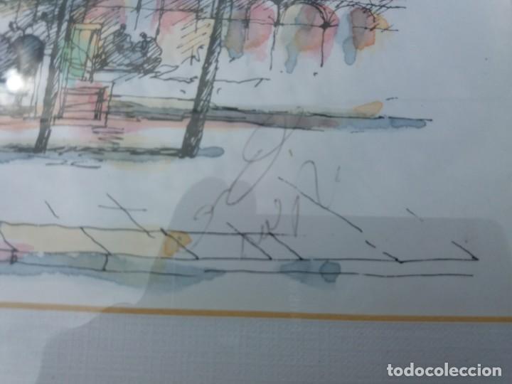 Arte: ESCUELA FRANCESA. ACUARELA Y TINTA SOBRE PAPEL. MERCADO DE ARTE. PARÍS. FIRMADA. ENMARCADA. - Foto 4 - 164082666