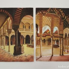 Arte: DOS GOUACHE SOBRE PAPEL, PATIO LEONES GRANADA, (C. PONCE), (46X37). Lote 164580534
