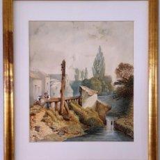Arte: ACUARELA FRANCESA DE 1886 FIMADA POR DESNOYERS. ESCENA DE RIO CON ALDEANOS . Lote 164967858