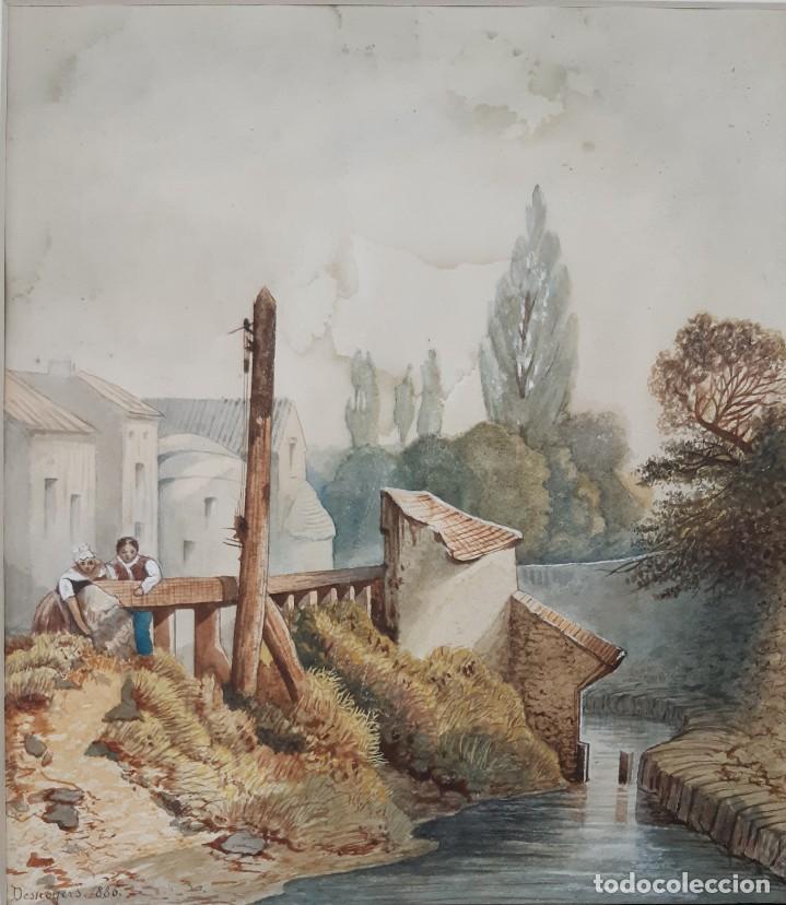 Arte: Acuarela francesa de 1886 fimada por Desnoyers. Escena de rio con aldeanos - Foto 2 - 164967858