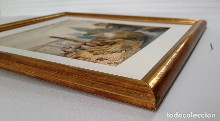 Arte: Acuarela francesa de 1886 fimada por Desnoyers. Escena de rio con aldeanos - Foto 5 - 164967858