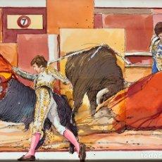 Arte: ACUARELA Y TINTA A PLUMILLA DE PRADOS DE LA PLAZA, ESPARTACO Y CURRO VÁZQUEZ, TOROS, TAUROMAQUIA. Lote 165007769
