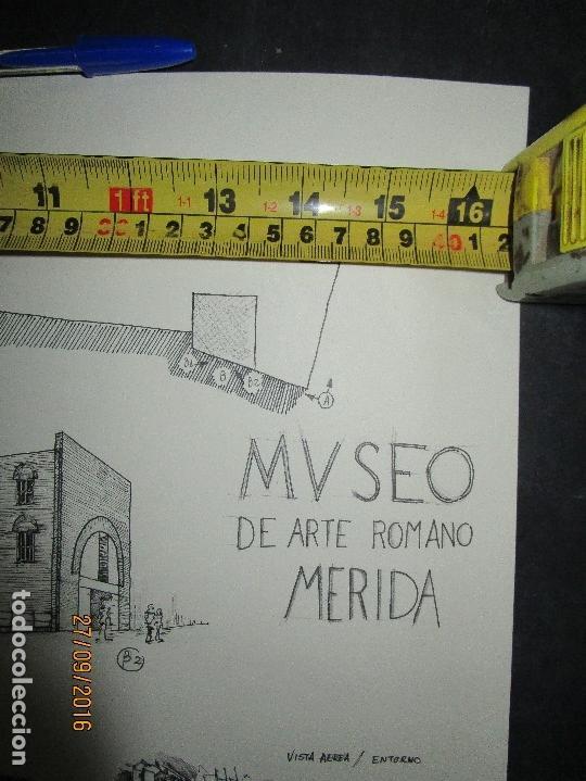 Arte: PLANOS MUSEO ARTE ROMANO MERIDA DIBUJO FIRMA LEIVA FACHADA ANTIGUO ORIGINAL PLUMILLA - Foto 4 - 110117515