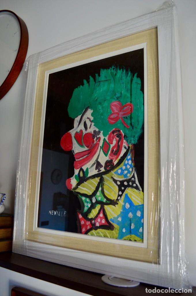 Arte: CUADRO PINTURA DE EDGAR NEVILLE, RETRATO DE PAYASO. ACUARELA SOBRE CARTÓN SIN FECHA. ENMARCADO NUEVO - Foto 4 - 165158634