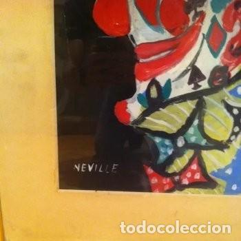 Arte: CUADRO PINTURA DE EDGAR NEVILLE, RETRATO DE PAYASO. ACUARELA SOBRE CARTÓN SIN FECHA. ENMARCADO NUEVO - Foto 24 - 165158634