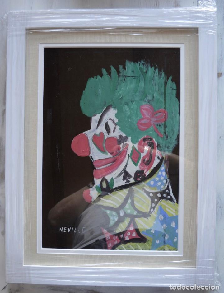 CUADRO PINTURA DE EDGAR NEVILLE, RETRATO DE PAYASO. ACUARELA SOBRE CARTÓN SIN FECHA. ENMARCADO NUEVO (Arte - Acuarelas - Contemporáneas siglo XX)