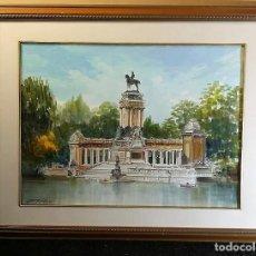 Arte: ACUARELA DE JUAN VIÑAS 98 DEL ESTANQUE DEL RETIRO DE MADRID.. Lote 165307486