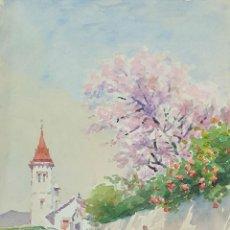 Arte: PAISAJE RURAL. ACUARELA SOBRE PAPEL. ATRIB. JULIAN DEL POZO Y LA ORDEN. 1932.. Lote 165331754