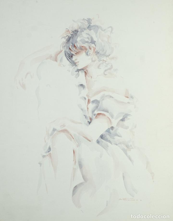ACUARELA SOBRE PAPEL MUJER FIRMA ILEGIBLE (Arte - Acuarelas - Contemporáneas siglo XX)