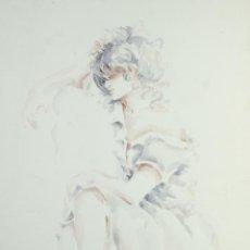 Arte: ACUARELA SOBRE PAPEL MUJER FIRMA ILEGIBLE . Lote 165380206