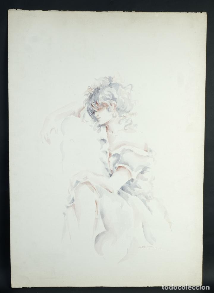 Arte: Acuarela sobre papel Mujer firma ilegible - Foto 2 - 165380206