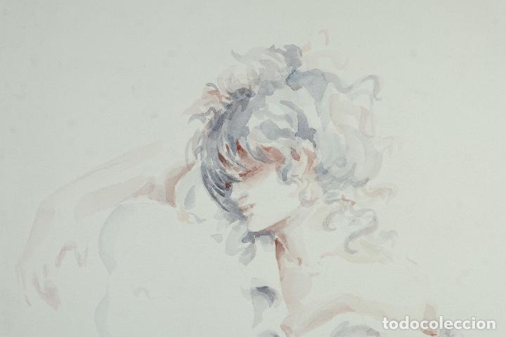 Arte: Acuarela sobre papel Mujer firma ilegible - Foto 3 - 165380206