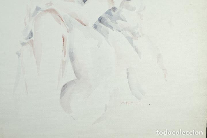 Arte: Acuarela sobre papel Mujer firma ilegible - Foto 5 - 165380206