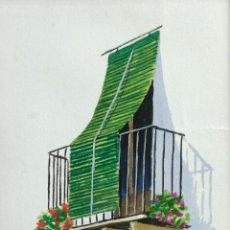 Arte: ACUARELA Y GOUACHE SOBRE PAPEL BALCÓN FIRMA ILEGIBLE . Lote 165380262