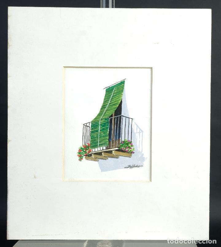 Arte: Acuarela y gouache sobre papel Balcón firma ilegible - Foto 2 - 165380262